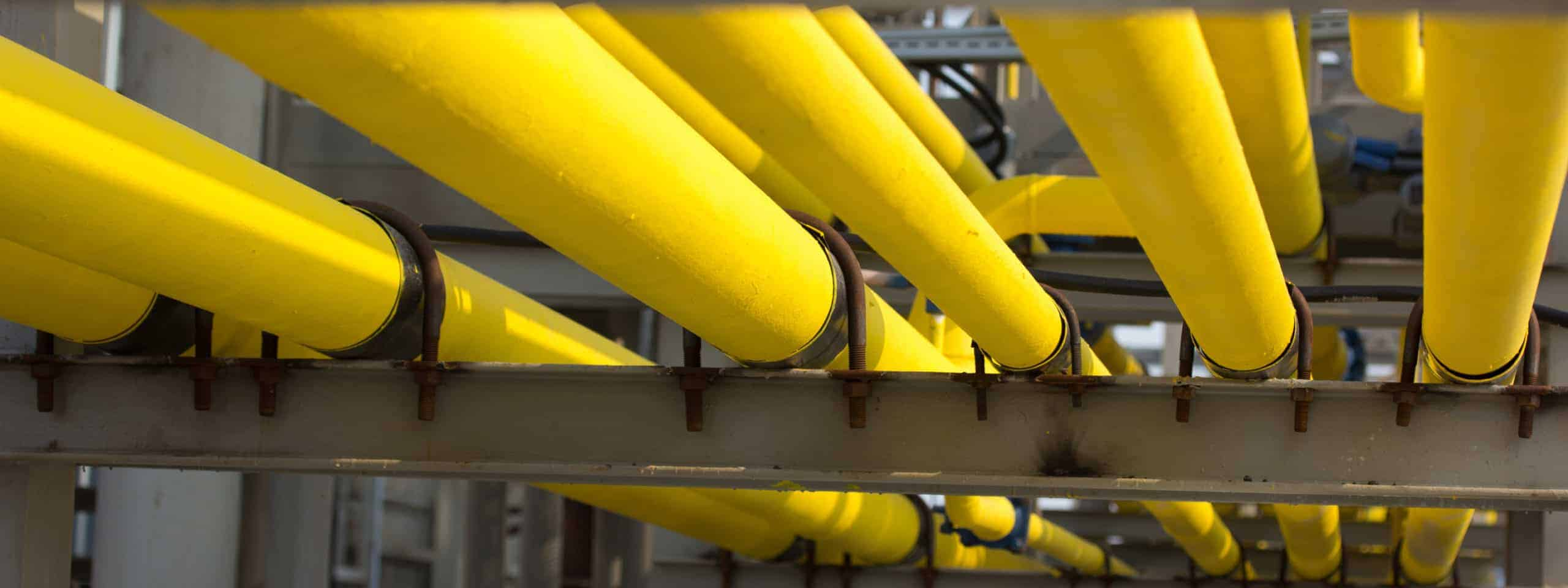multiple yellow pipelines
