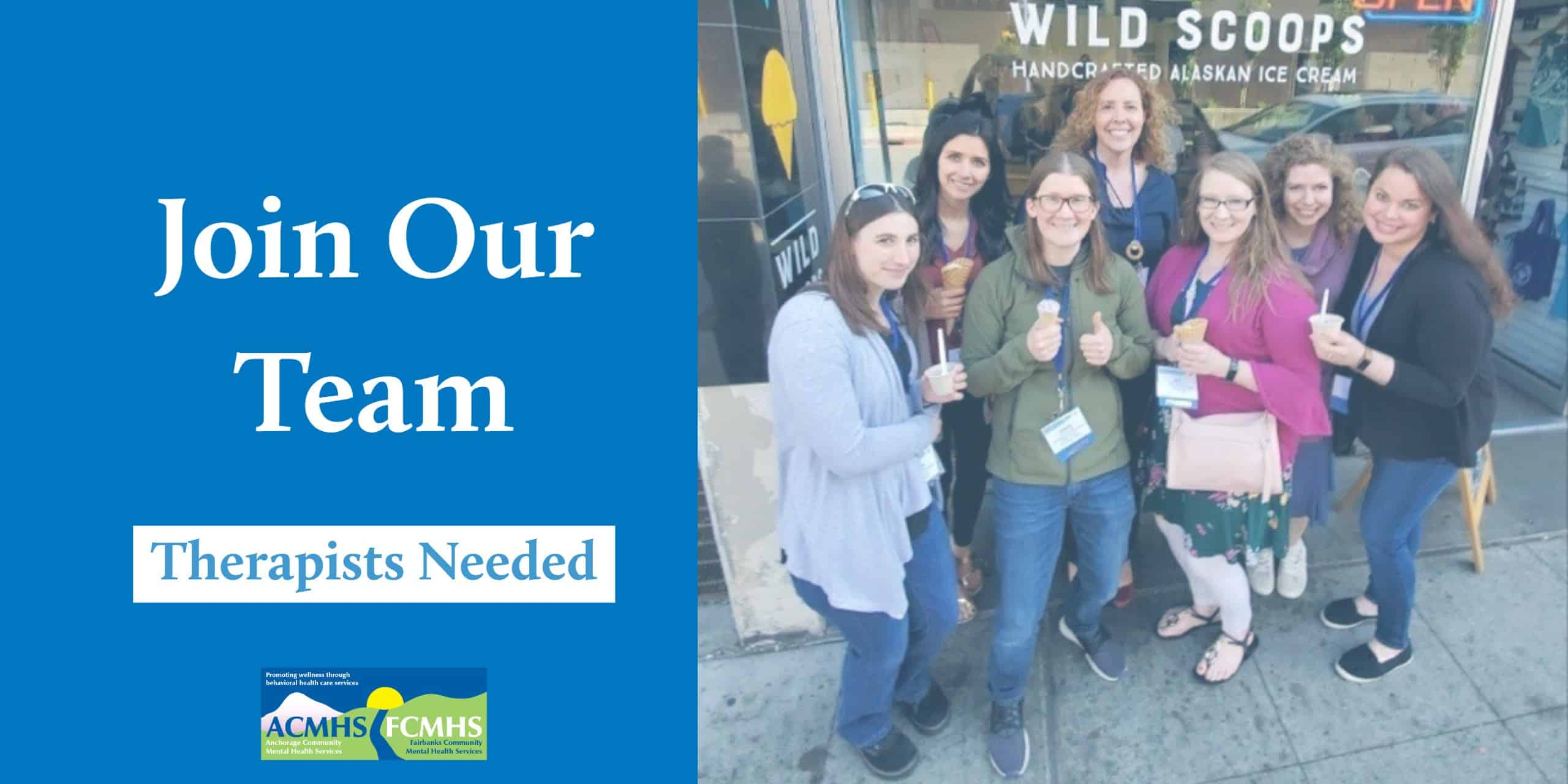 group of employees; text: join our team, therapists needed