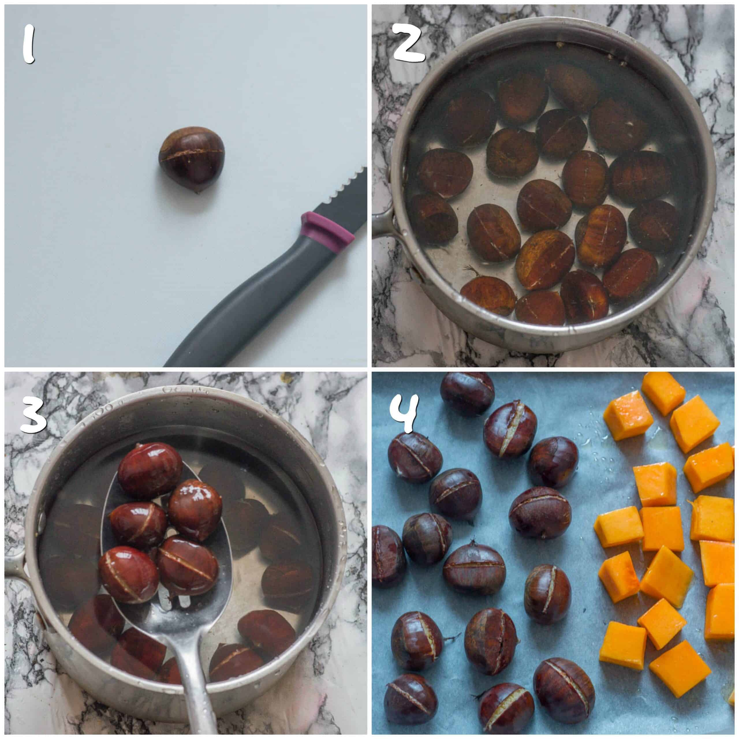 steps 1-4 boiling and roasting chestnuts