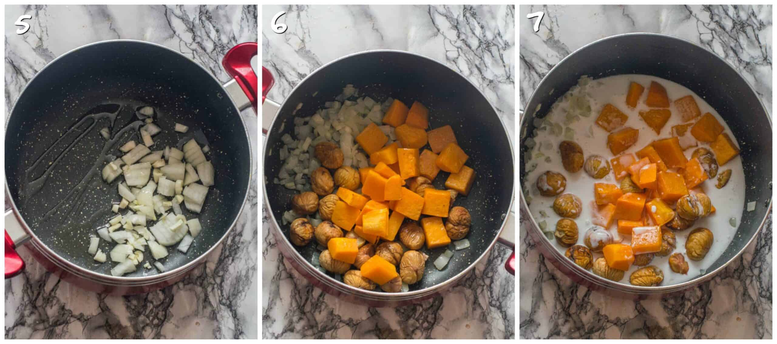 steps 5-7 sauteeing pumpkin and chestnuts