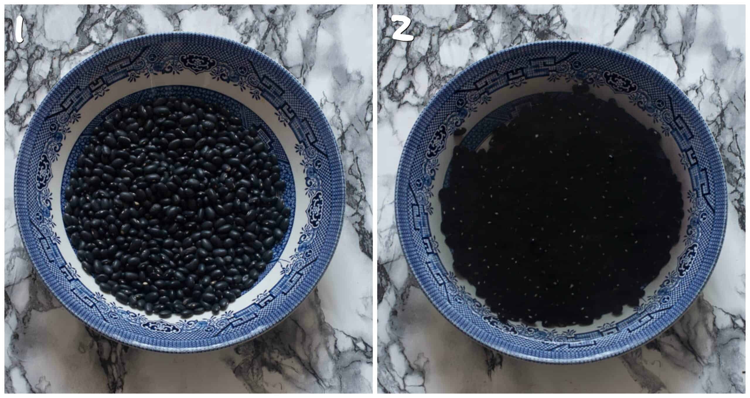 Steps 1-2 soaking black beans