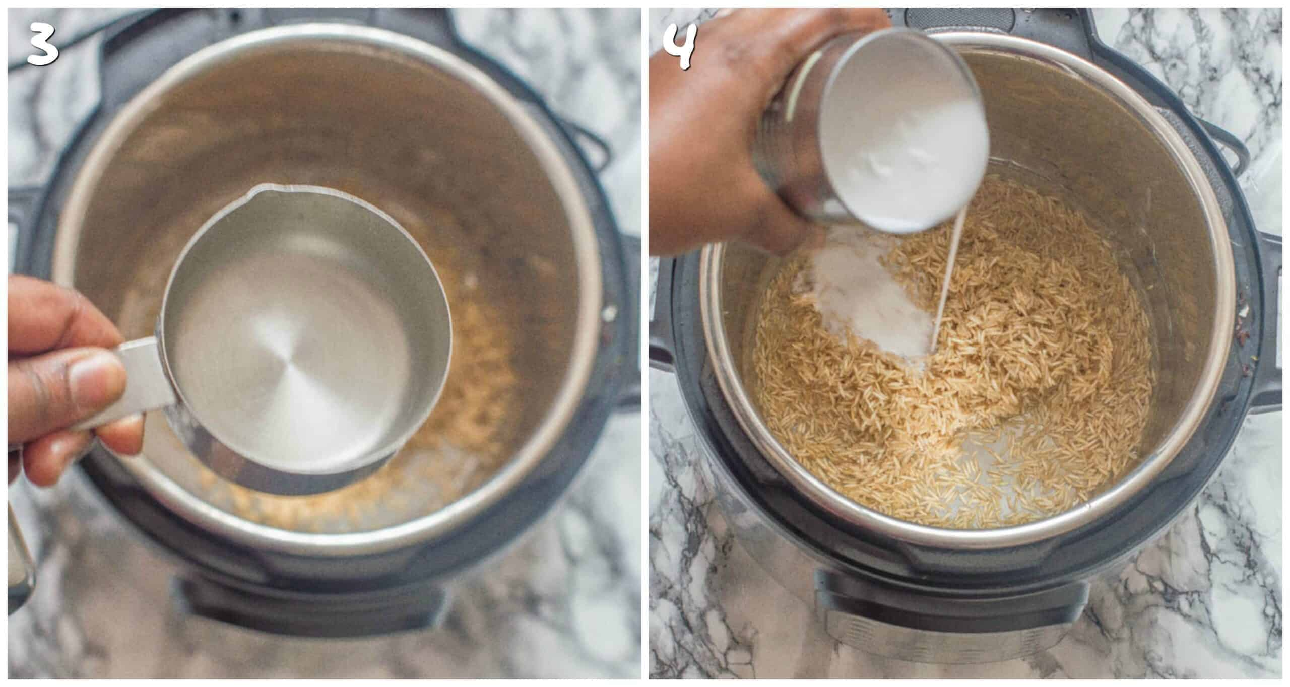 steps 3-4 adding water and coconut milk