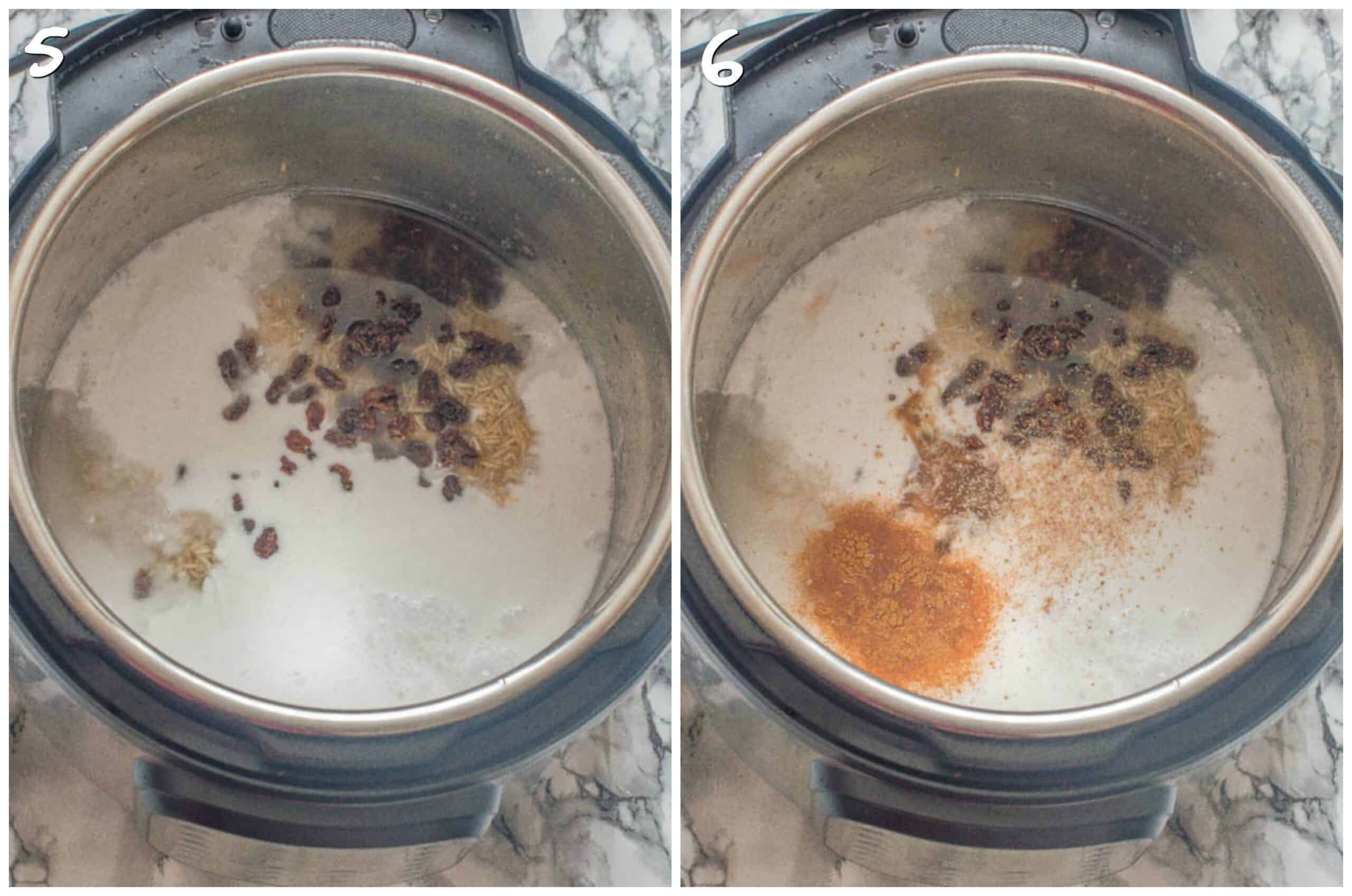 steps 5-6 adding raisins and spices to instant pot
