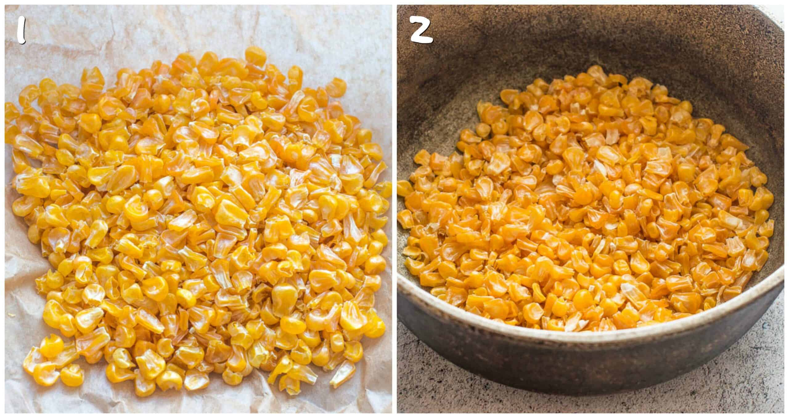 steps 1-2 dried corn in dutch pot