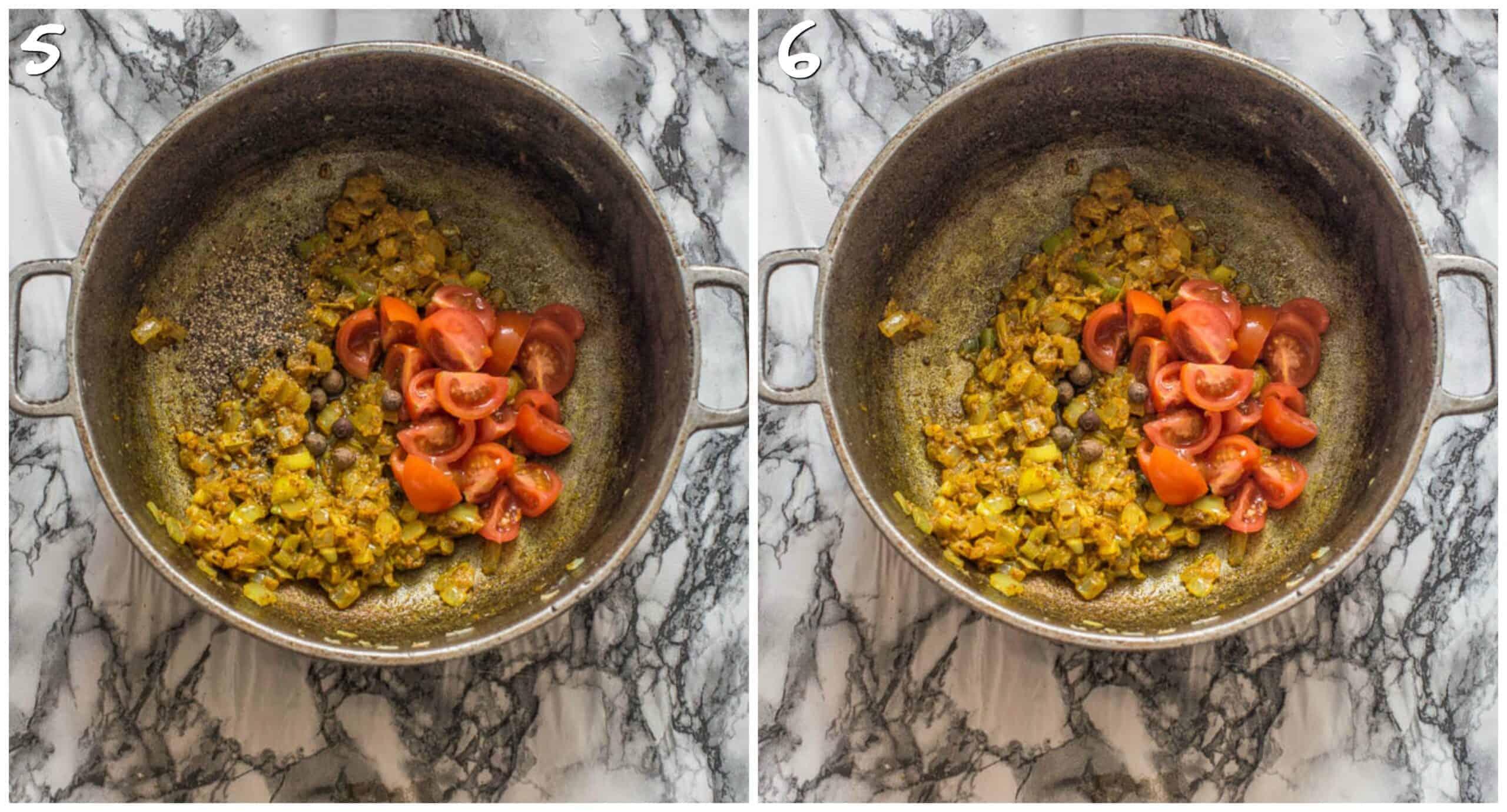 steps 5-6 adding black pepper and pimento