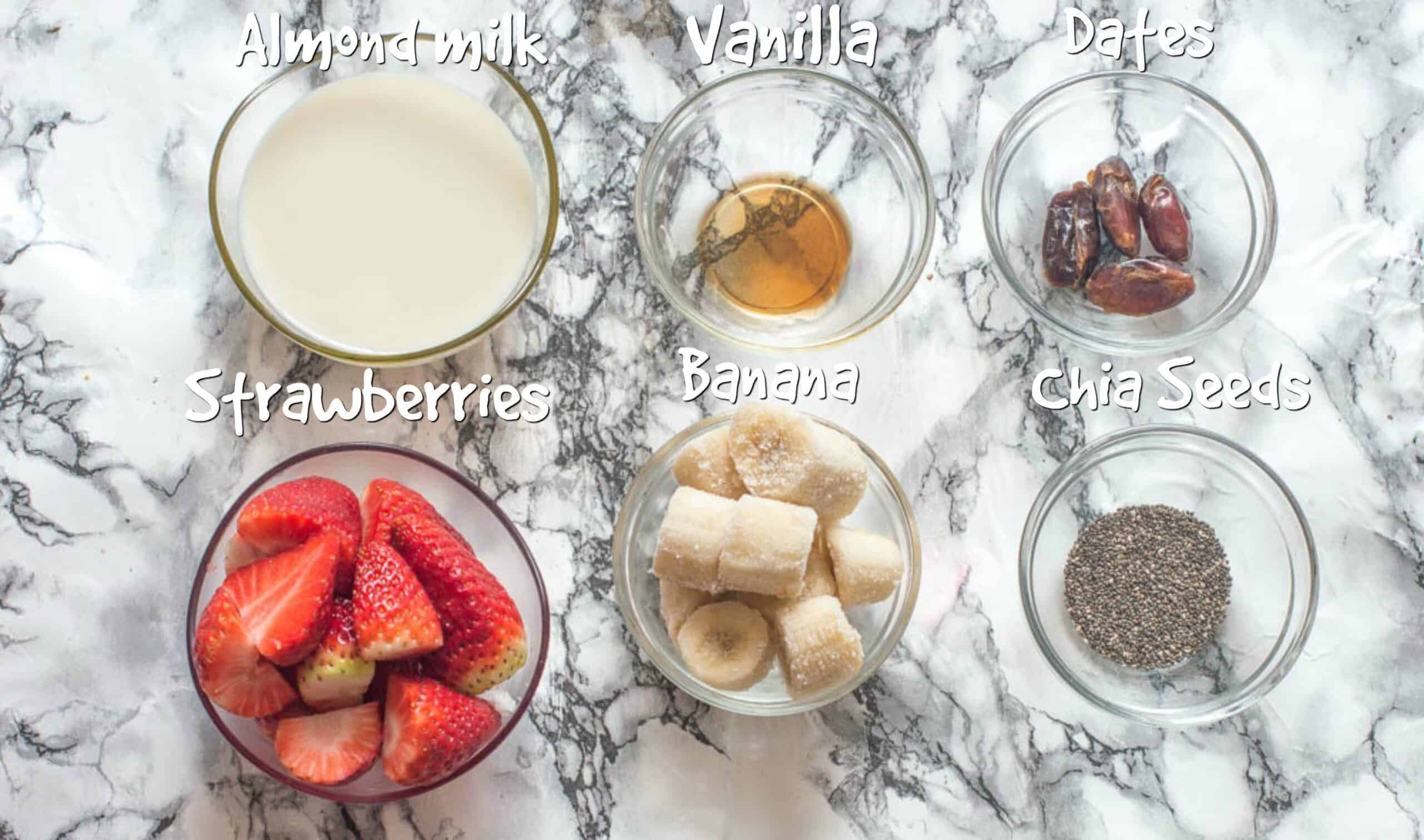 Ingredients for strawberry and banana smoothie