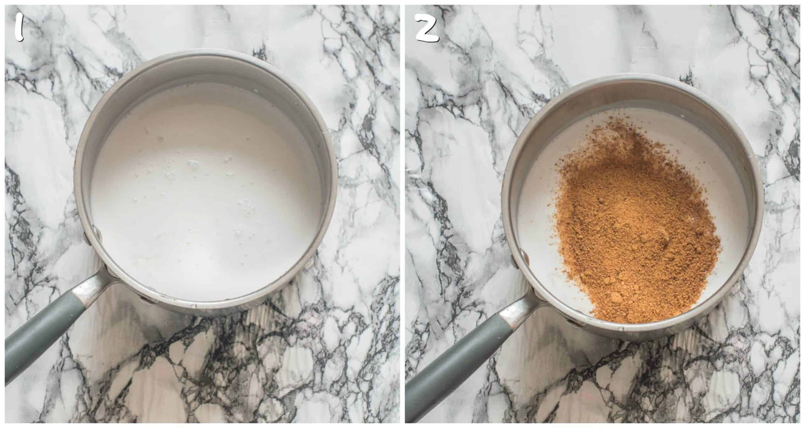 steps 1-2 boiling milk and adding coconut sugar
