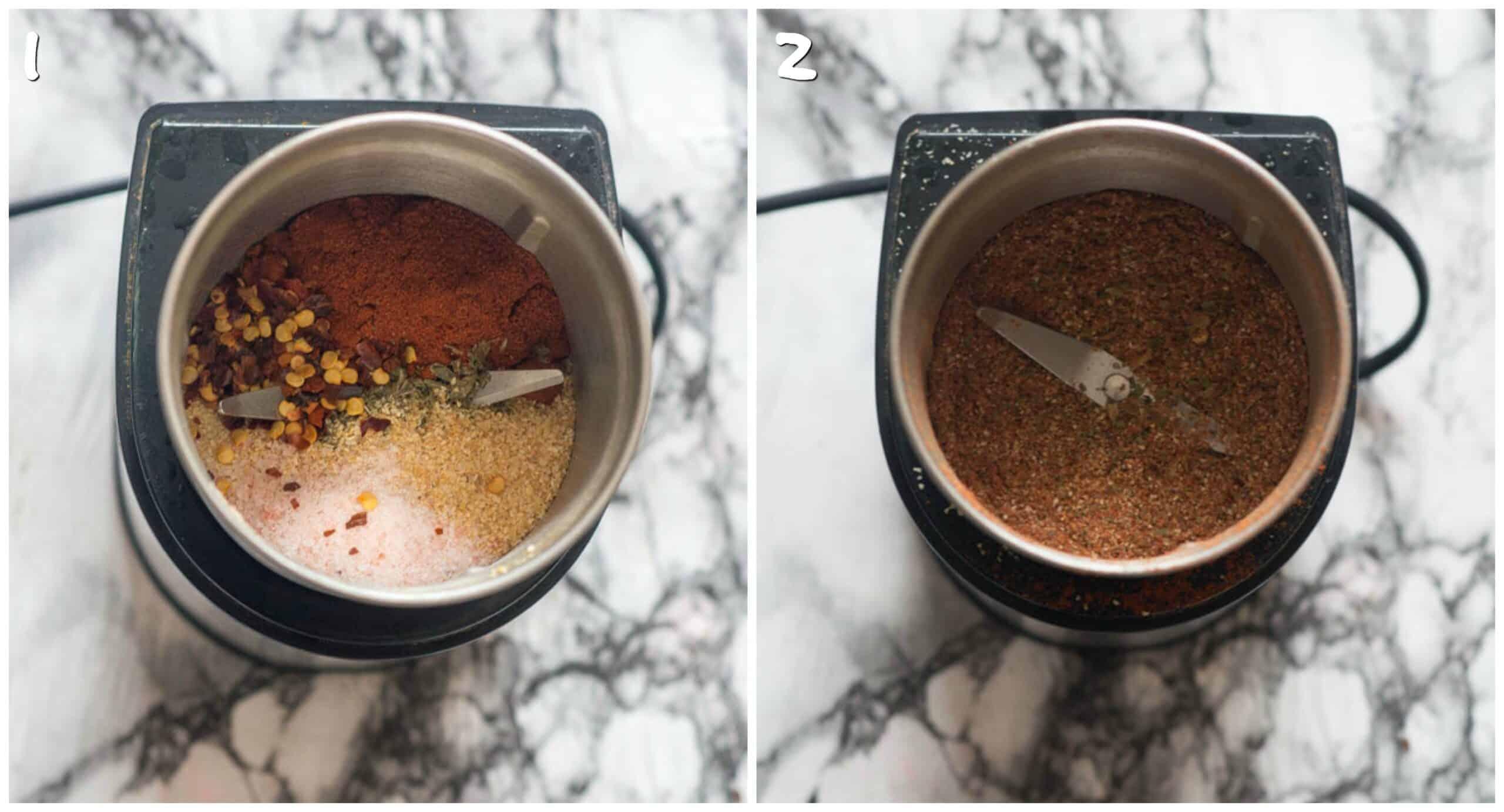 steps 1-2 grinding up the seasoning