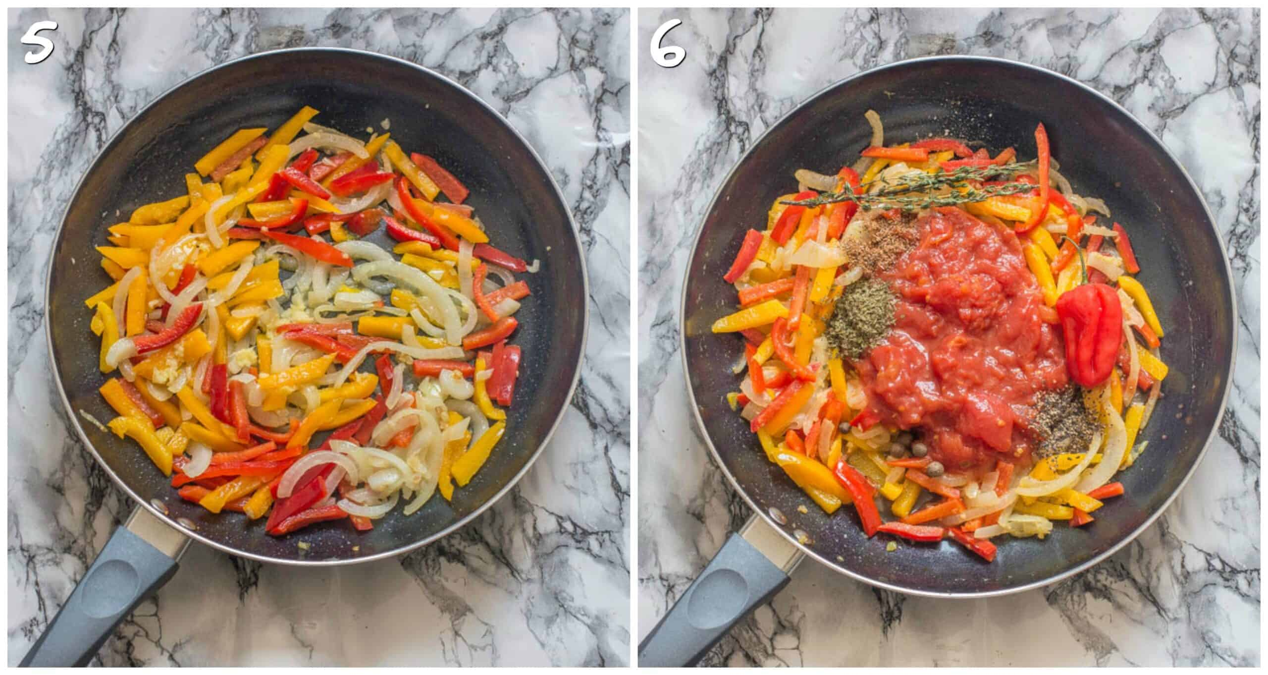 steps 5-6 adding bell peppers and tomato, thyme, scotch bonnet