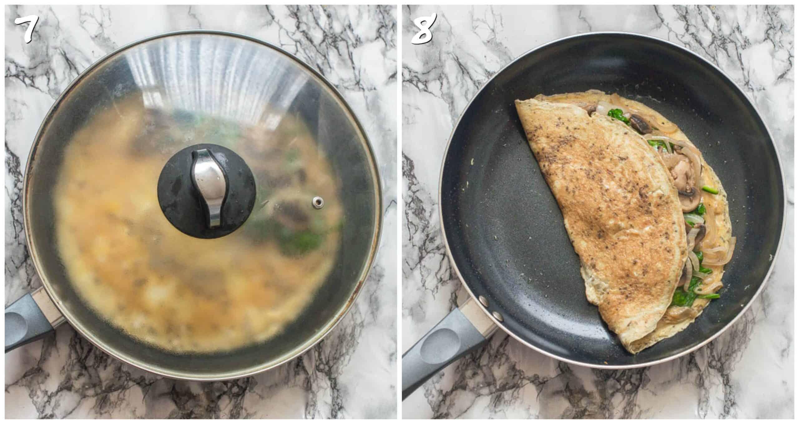 steps 7-8 folding omelette