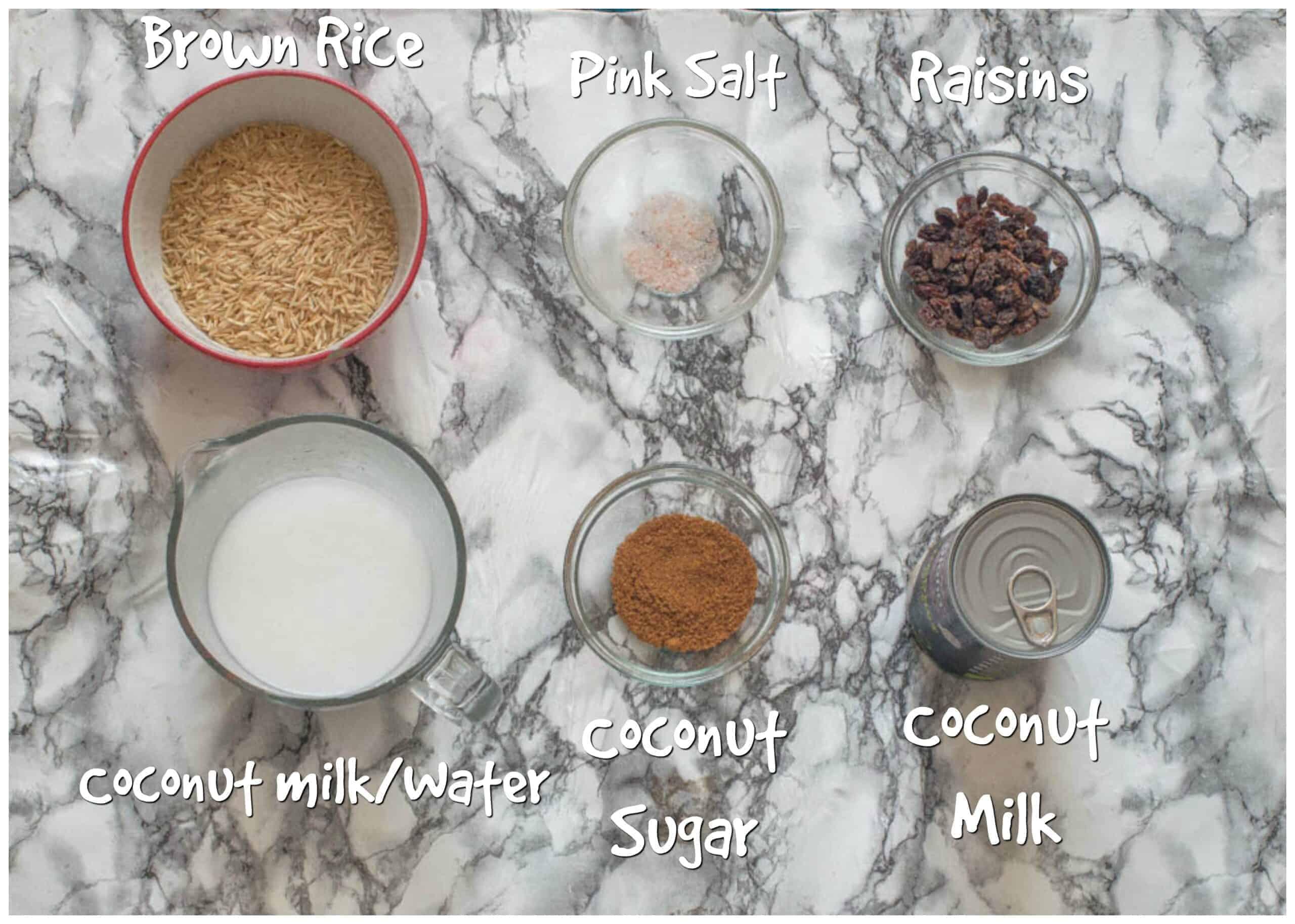 ingredients for arroz con coco