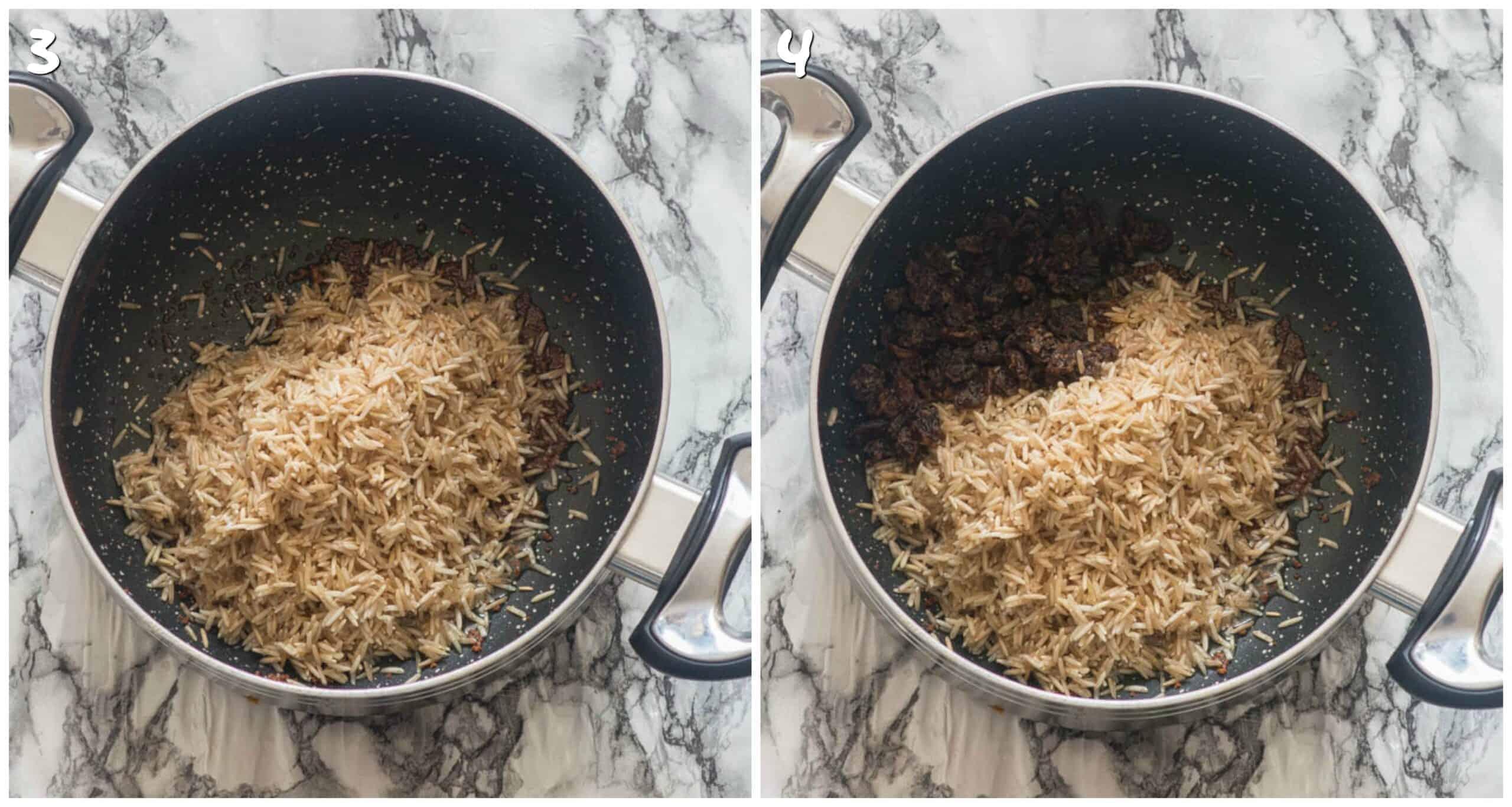 steps 3-4 adding rice and raisins