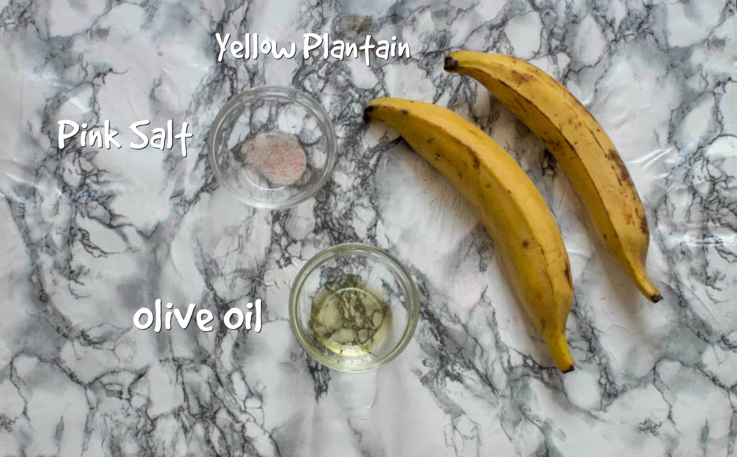 Ingredients for baked plantain chips