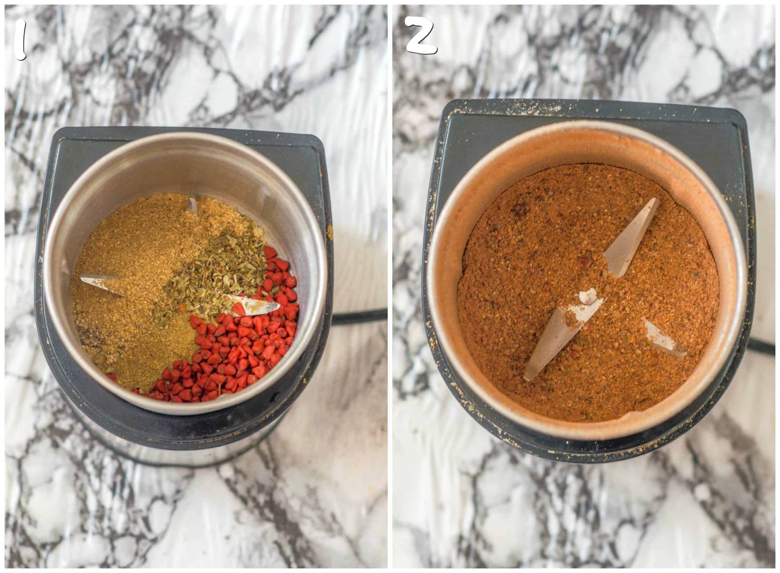 steps 1- 2 blending the seasoning