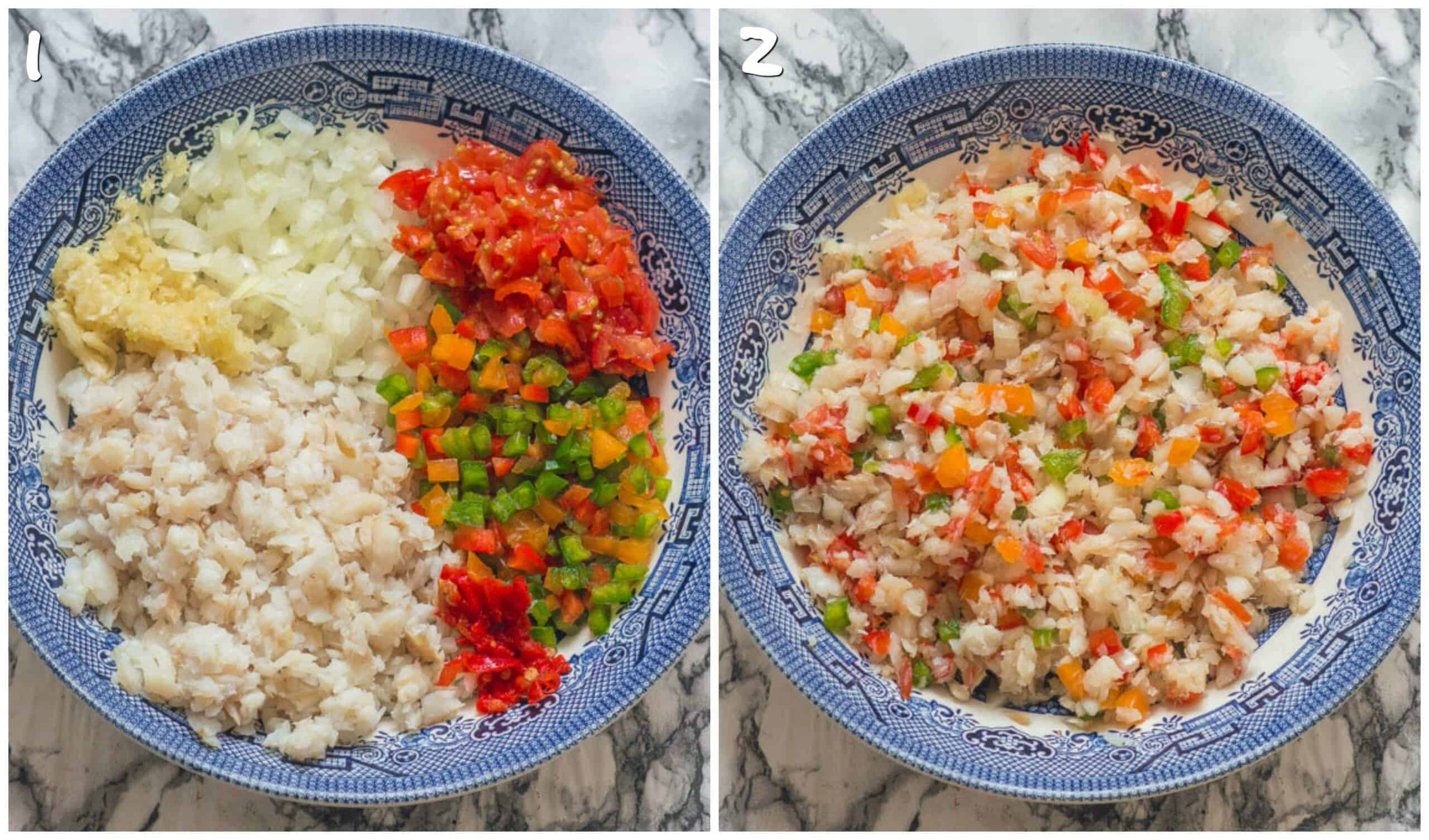 steps 1-2 mixing the vegetables with saltfish