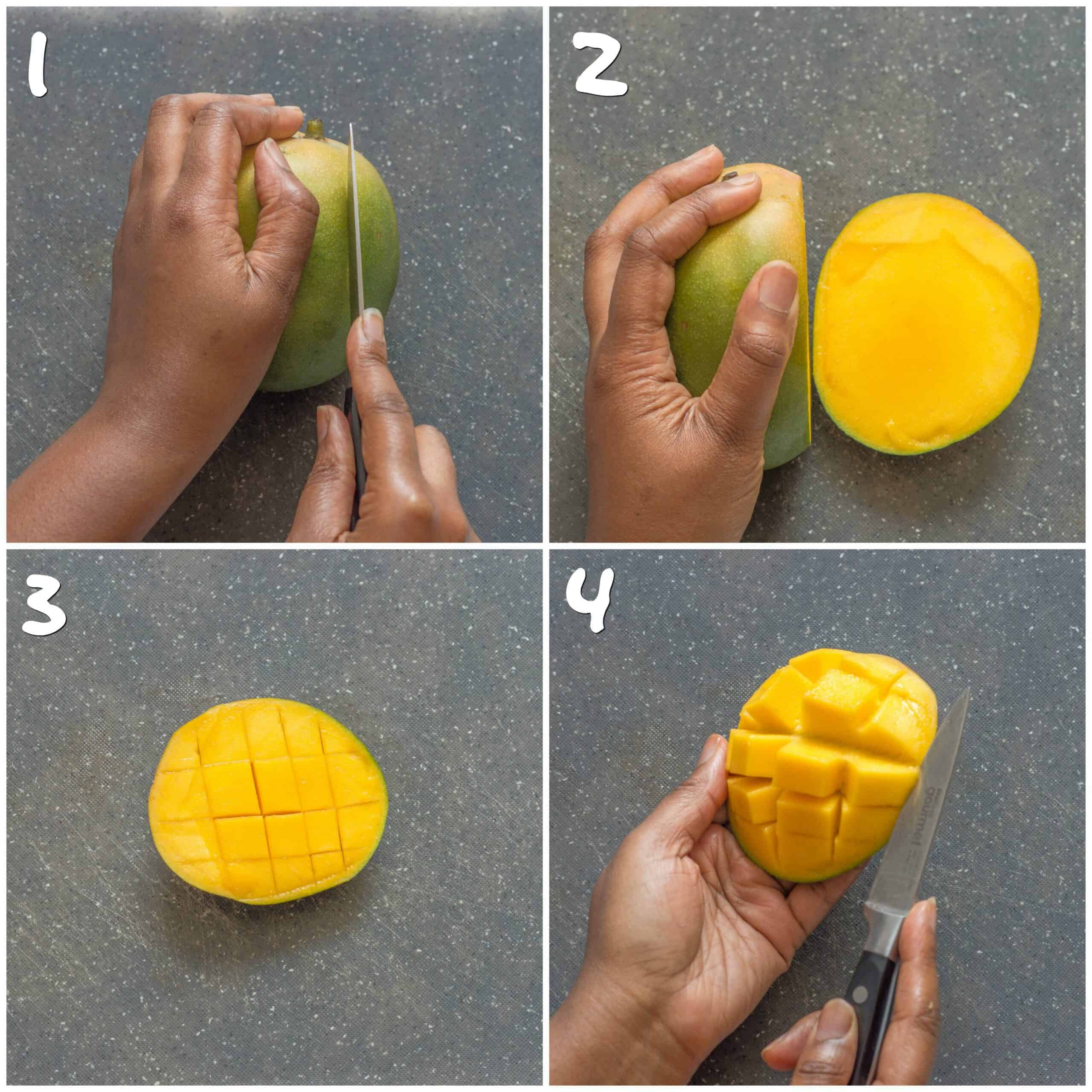 steps 1-4 showing how to cut a mango