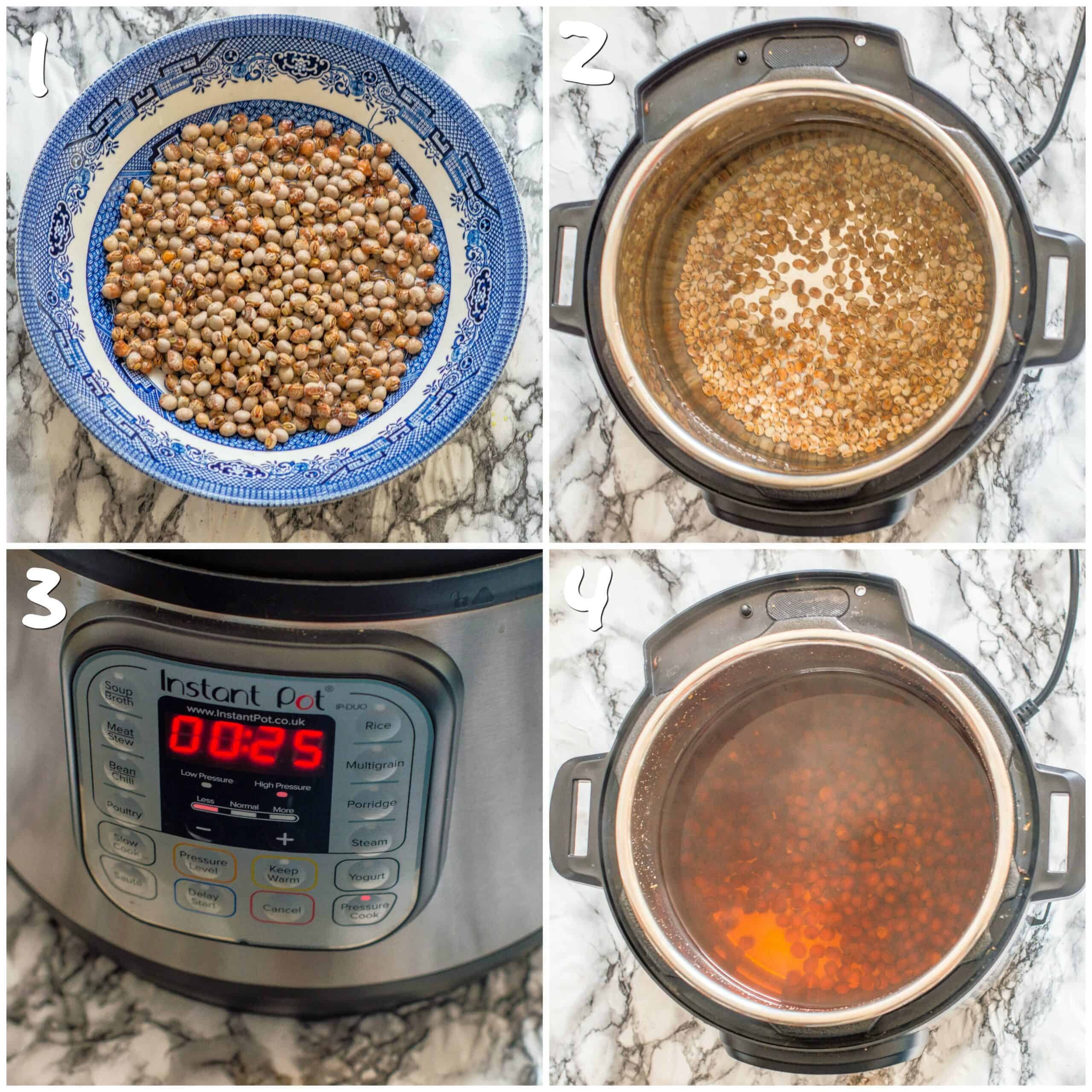 steps 1-4 for cooking gungo peas in an instant pot