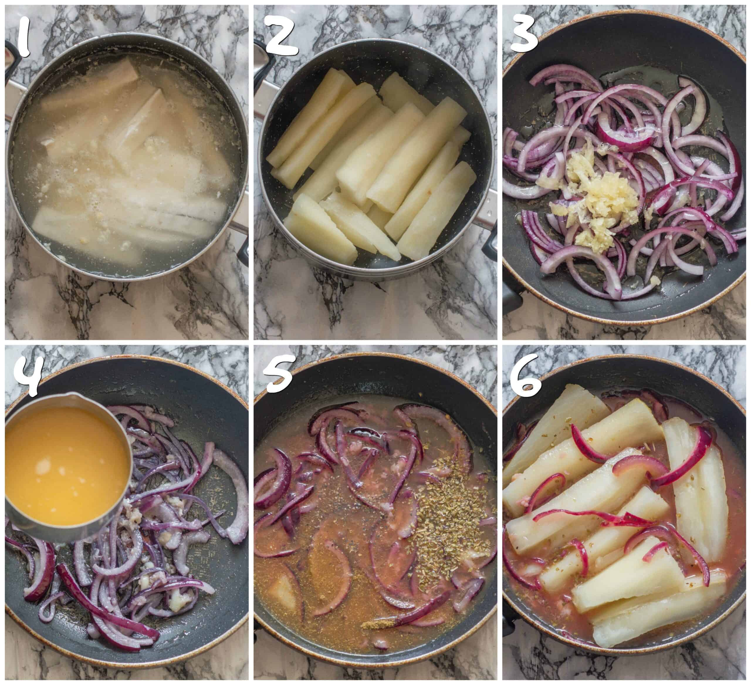 steps 1-6 cooking the yuca