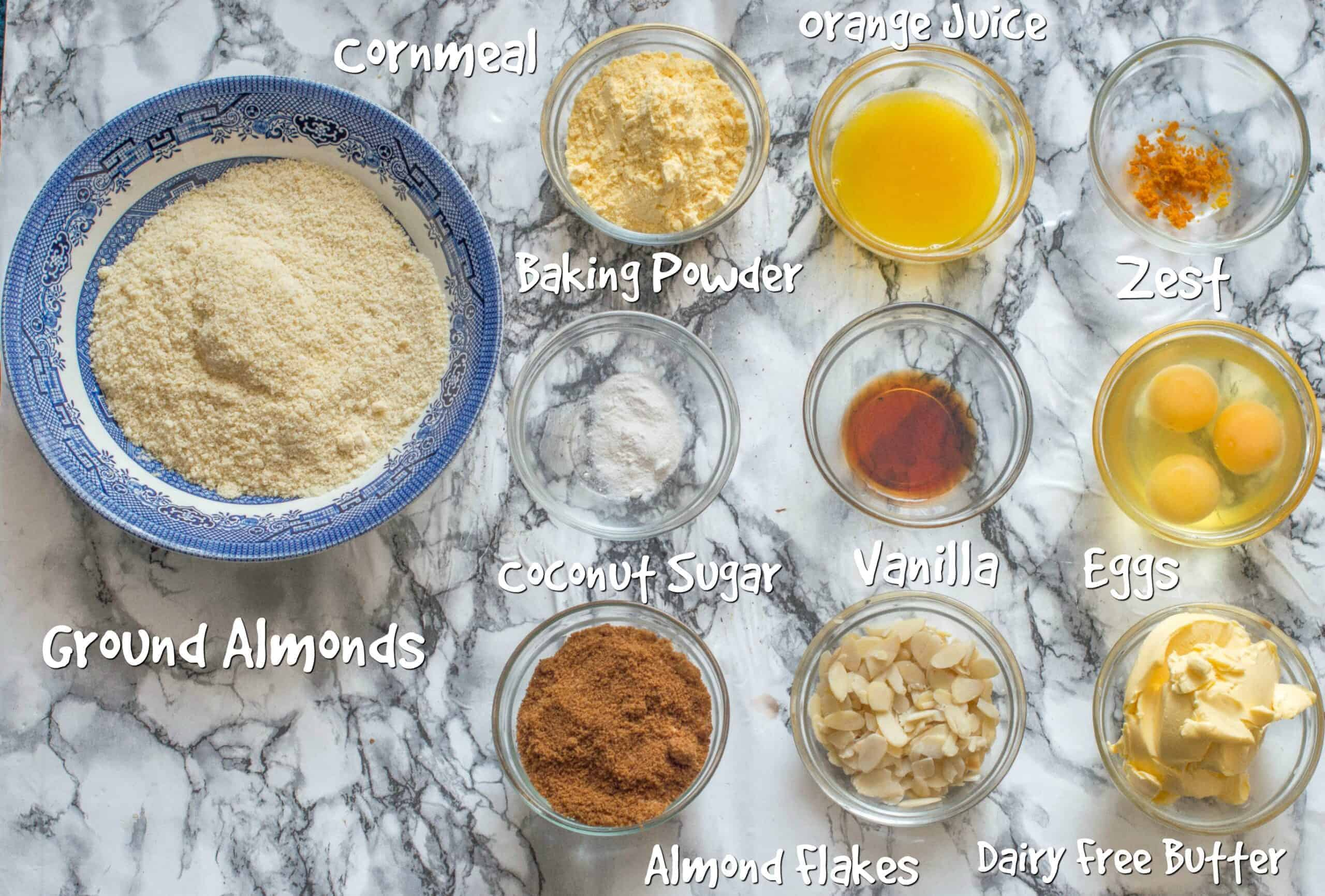 ingredients for the gluten free orange and almond cake