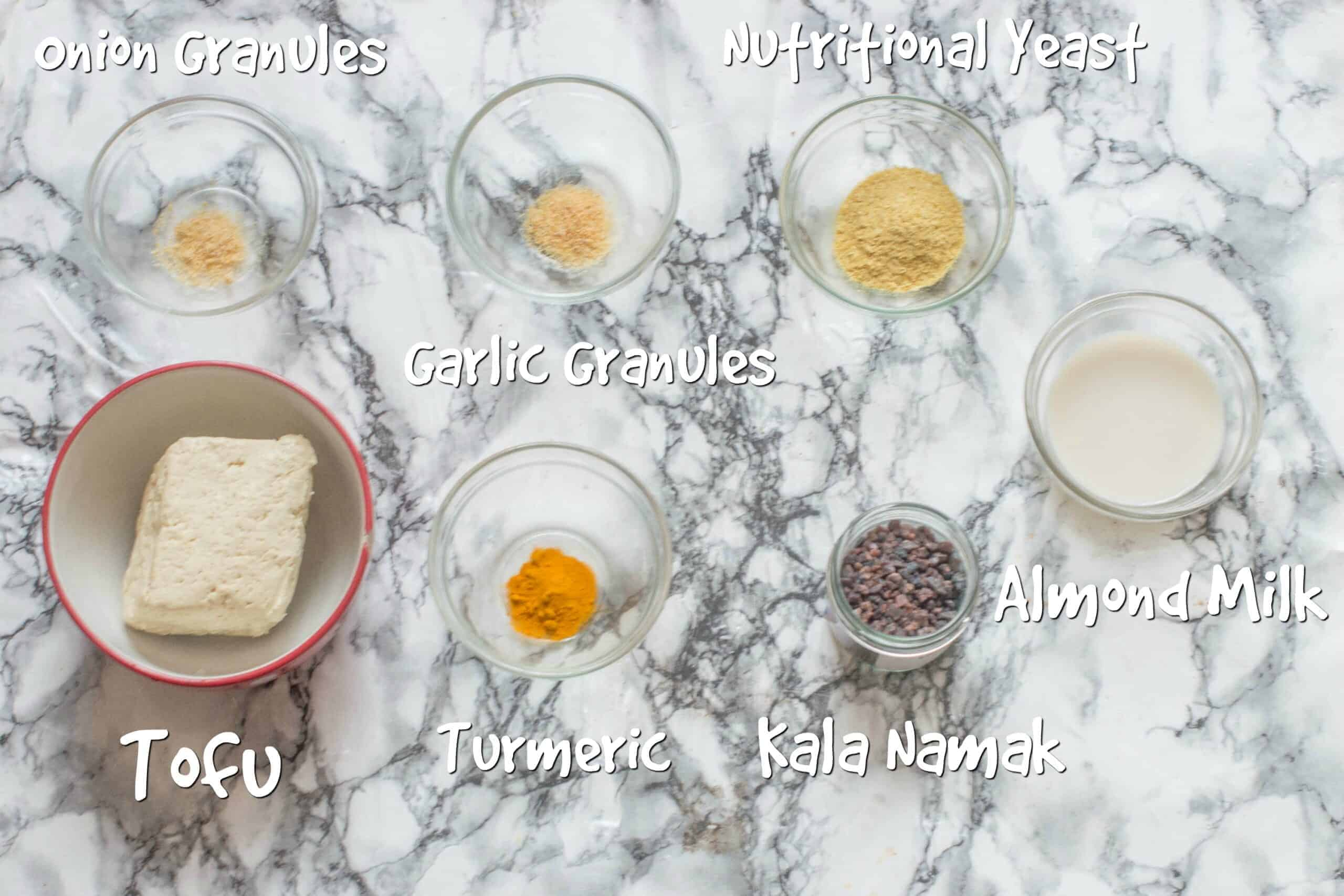 ingredients for the oil free tofu scramble