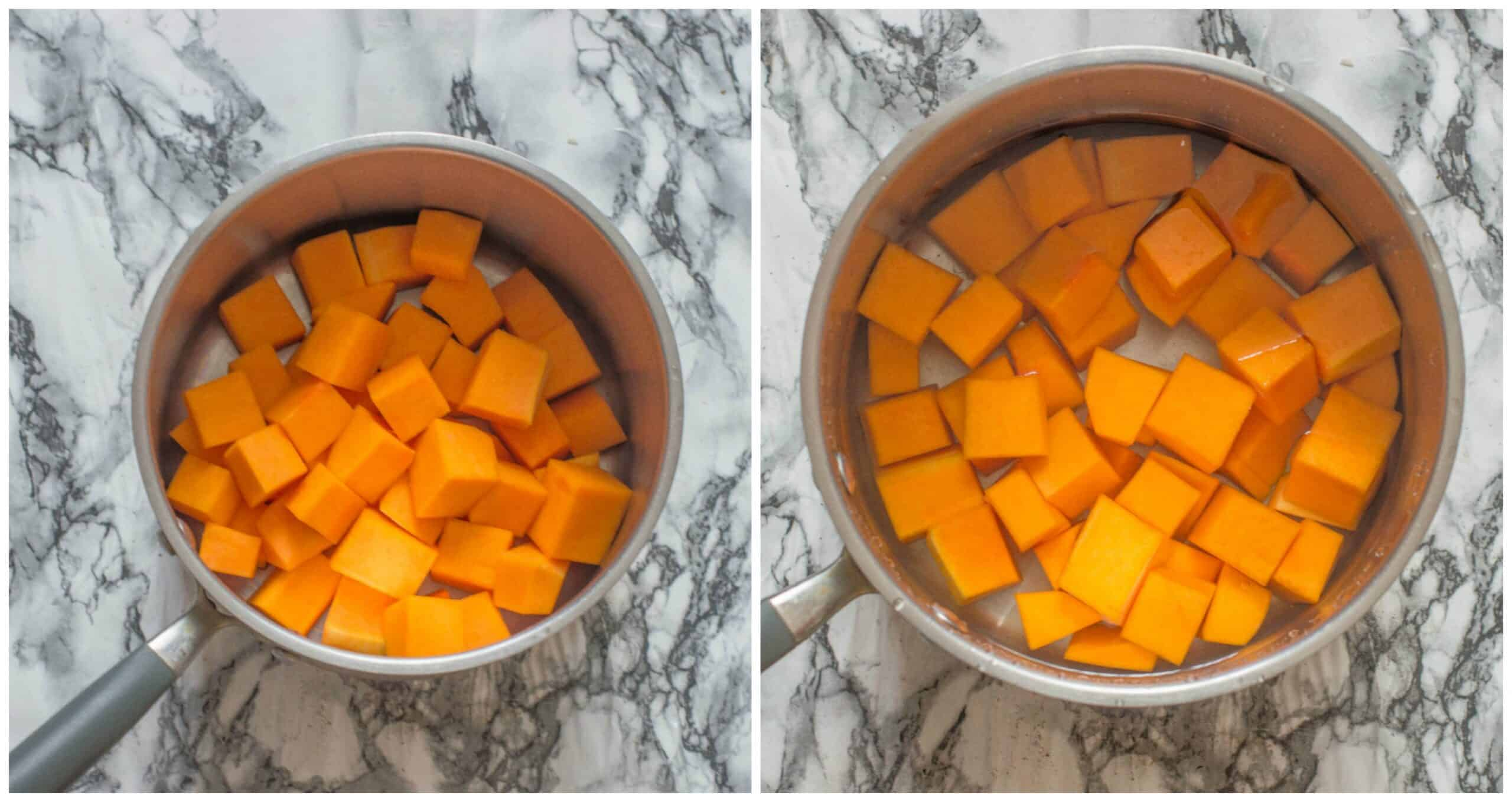steps 1-2 boiling the sweet potatoes
