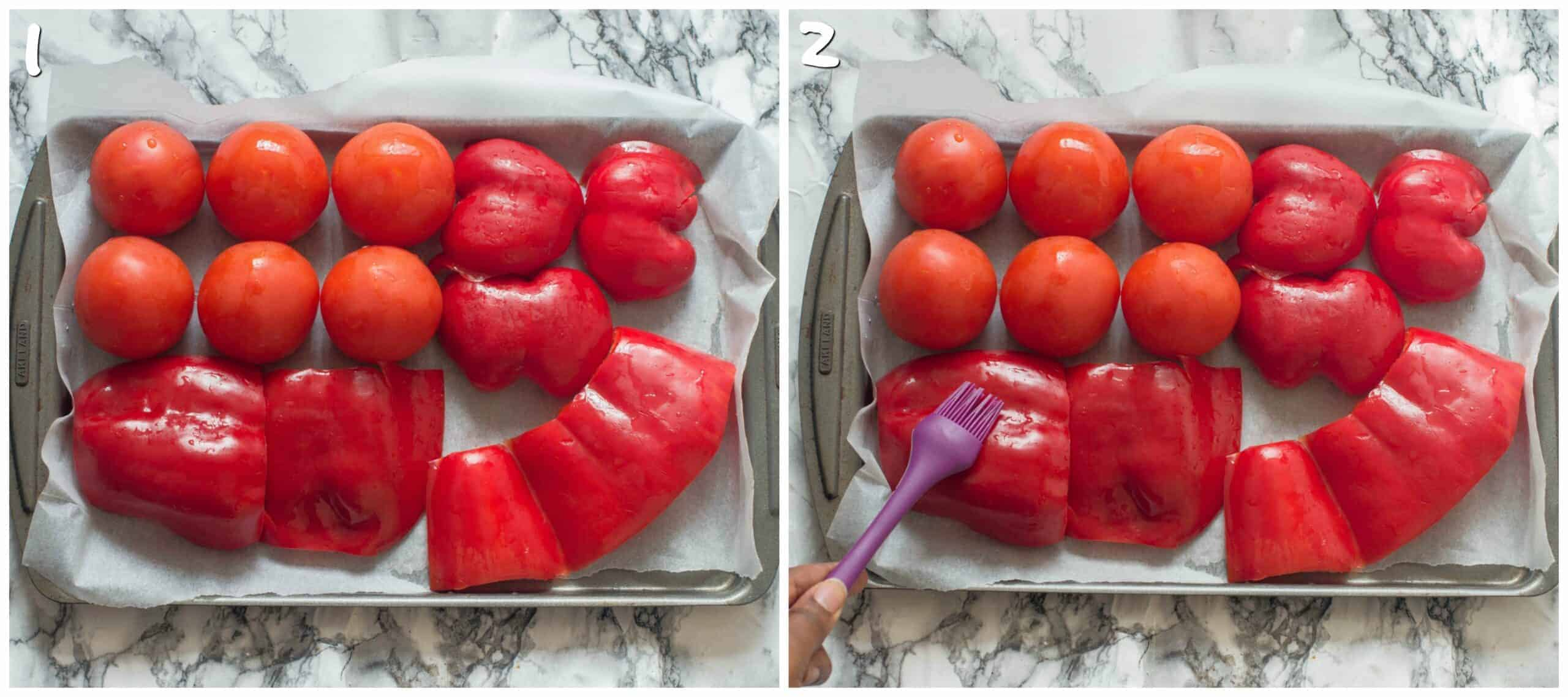 steps 1-2 coating tomatoes and red peppers with oil