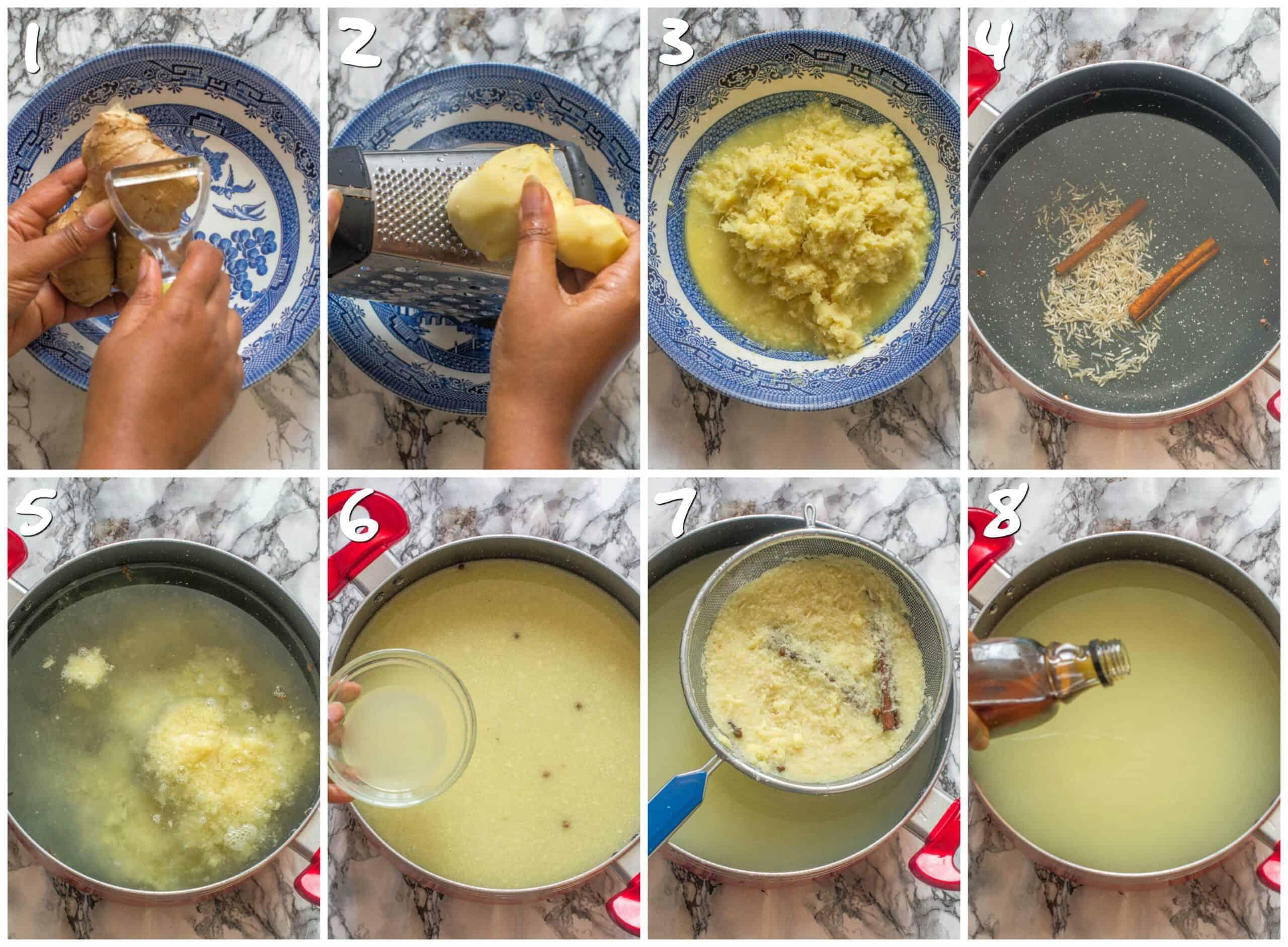steps 1-8 making the ginger beer