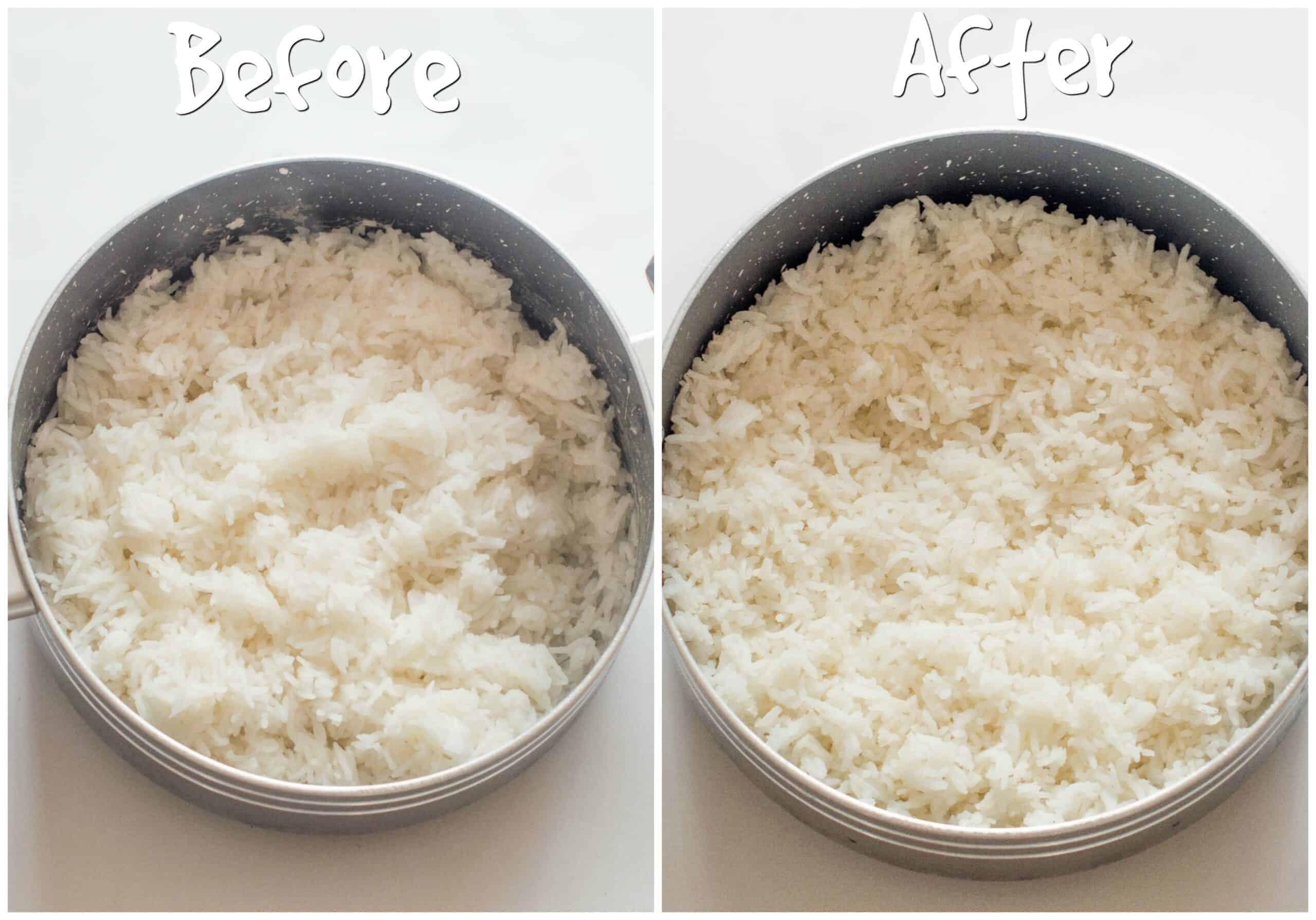 two shots of before and after rice