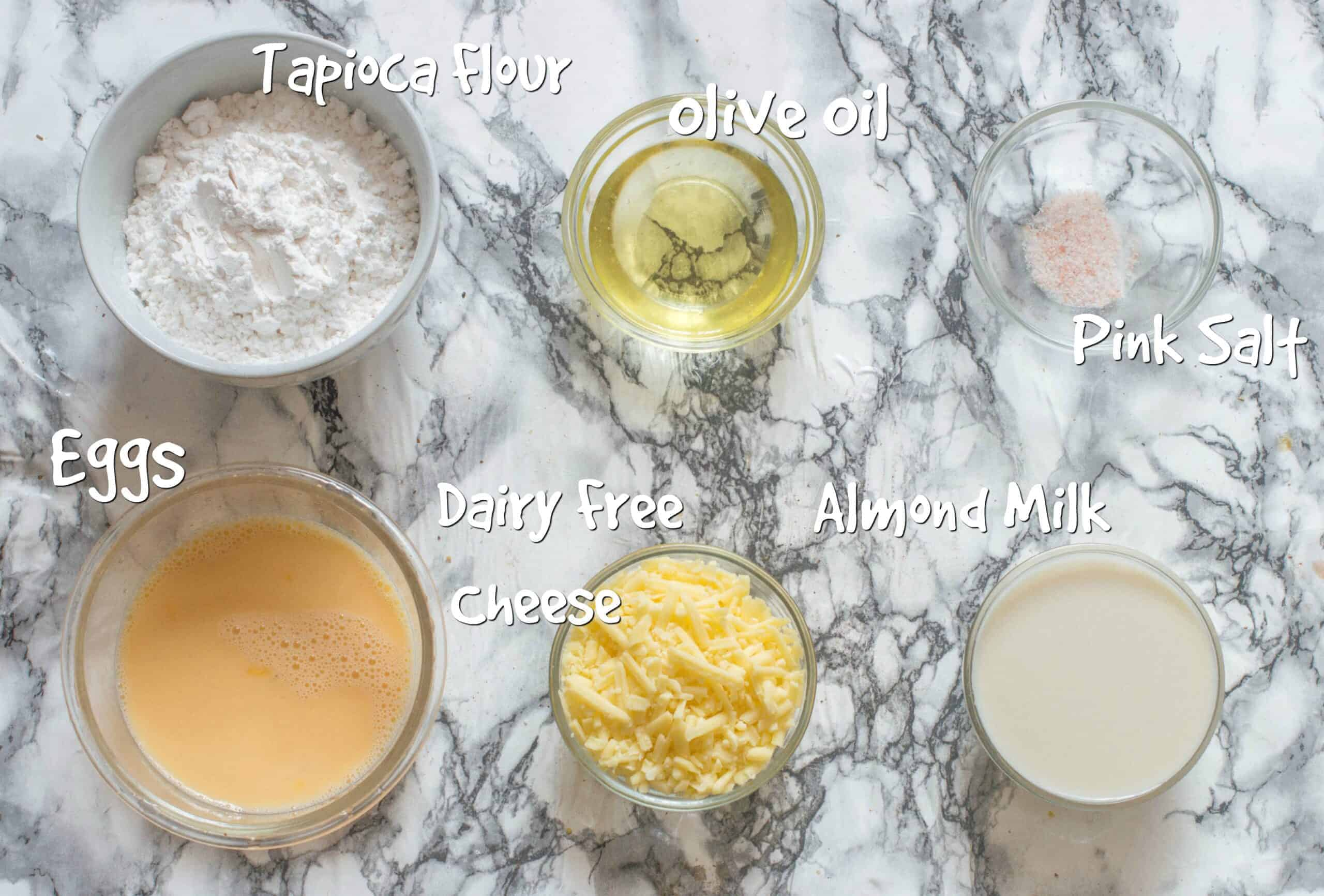 ingredients for dairy free brazilian cheese bread