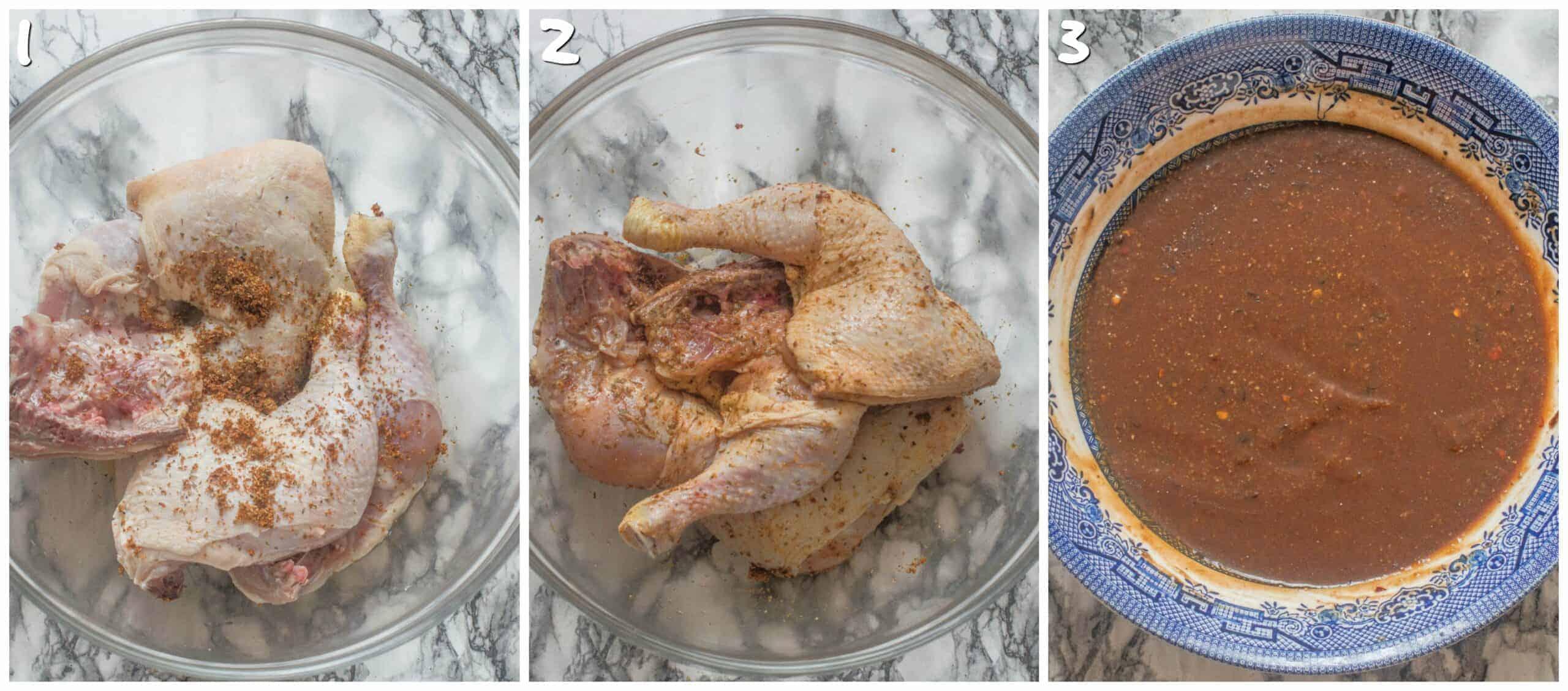 steps 1-3 season chicken
