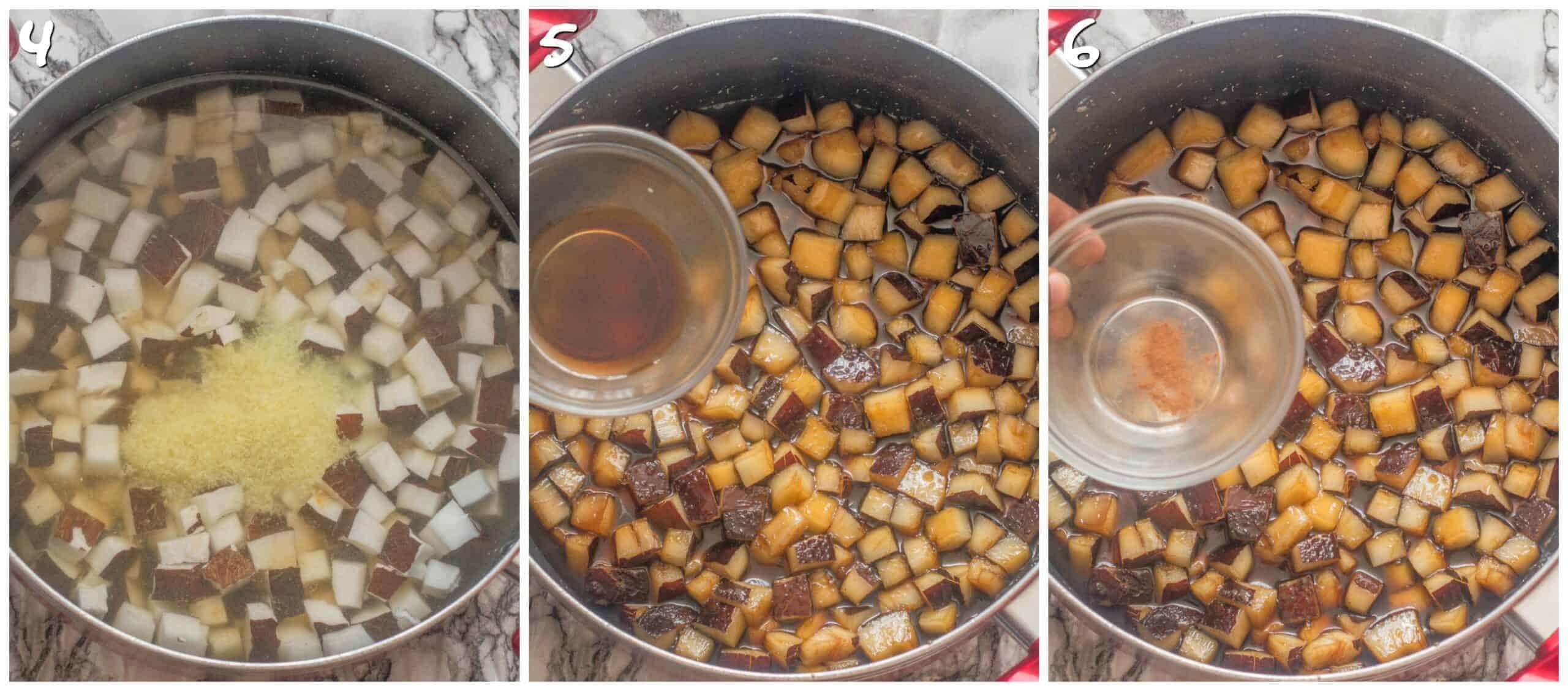 steps 4-6 ginger, vanilla, cinnamon and pink salt added