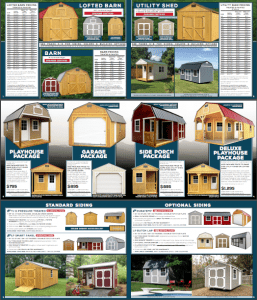 Old Hickory Sheds brochure showing pricing and building options