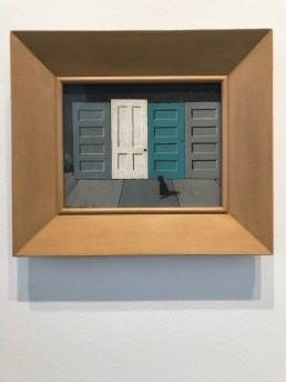 Gertrude Abercrombie, Doors and Two Cats, 1956, oil on masonite