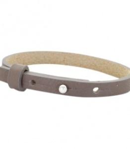 leren SOS armband grijsbruin