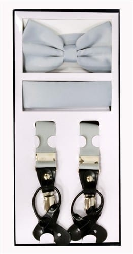 Mens Silver Suspender Bow Tie and Pocket Square Set