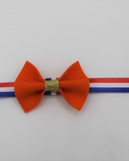 Koningsdag haarbandje met oranje vlinderstrik