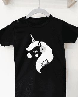 Shirt unicorn glitter gepersonaliseerd