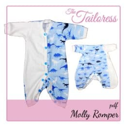 The Tailoress PDF Sewing Patterns - Molly Romper for Toys Dolls or Preemie Babies / Children PDF Sewing Pattern