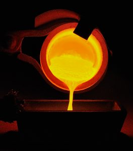 Pouring molten gold