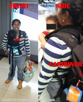 International travel with a toddler, babywearing in the airport