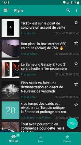 Flym lecteur flux RSS