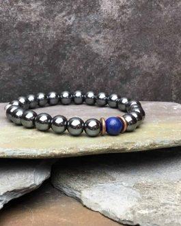 lapis lazuli and hematite bracelet