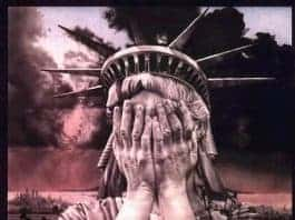Graphic showing the statue of liberty holding her hands to cover her face: is he in denial or disbelief?