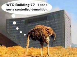 An ostrich sticks it head in the sand while WTC7 collapses