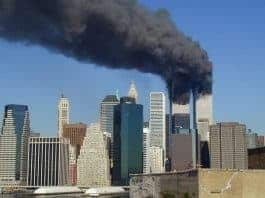 Photo of Smoke rising from the World Trade Center Twin Towers on 911