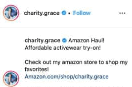 instagram amazon link