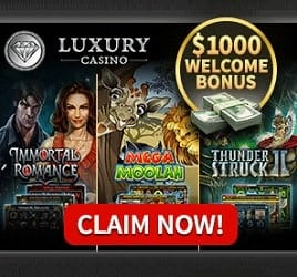 Luxury Casino 100 free spins + 325% up to €/$1000 free bonus