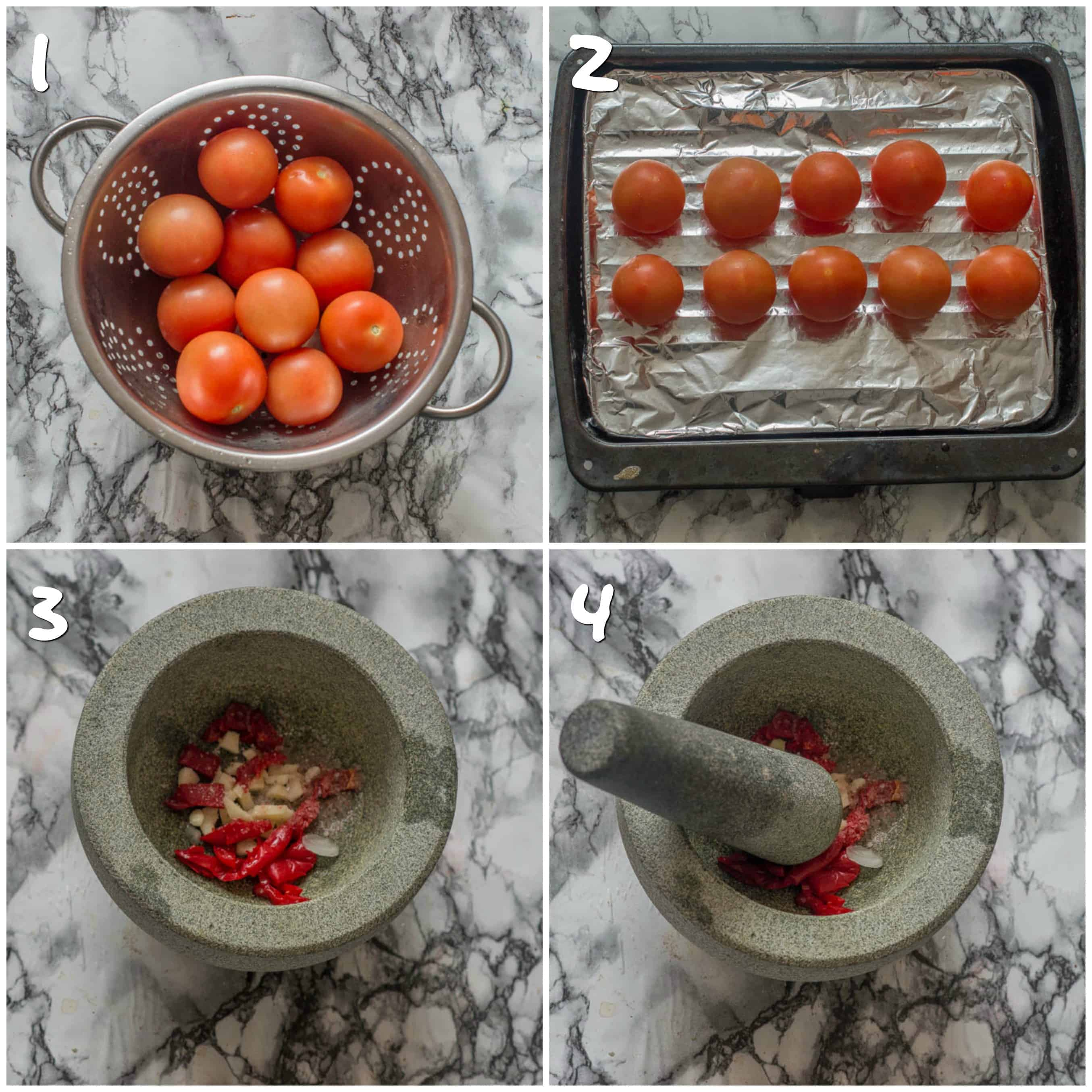 steps 1-4 grilling tomato and making paste
