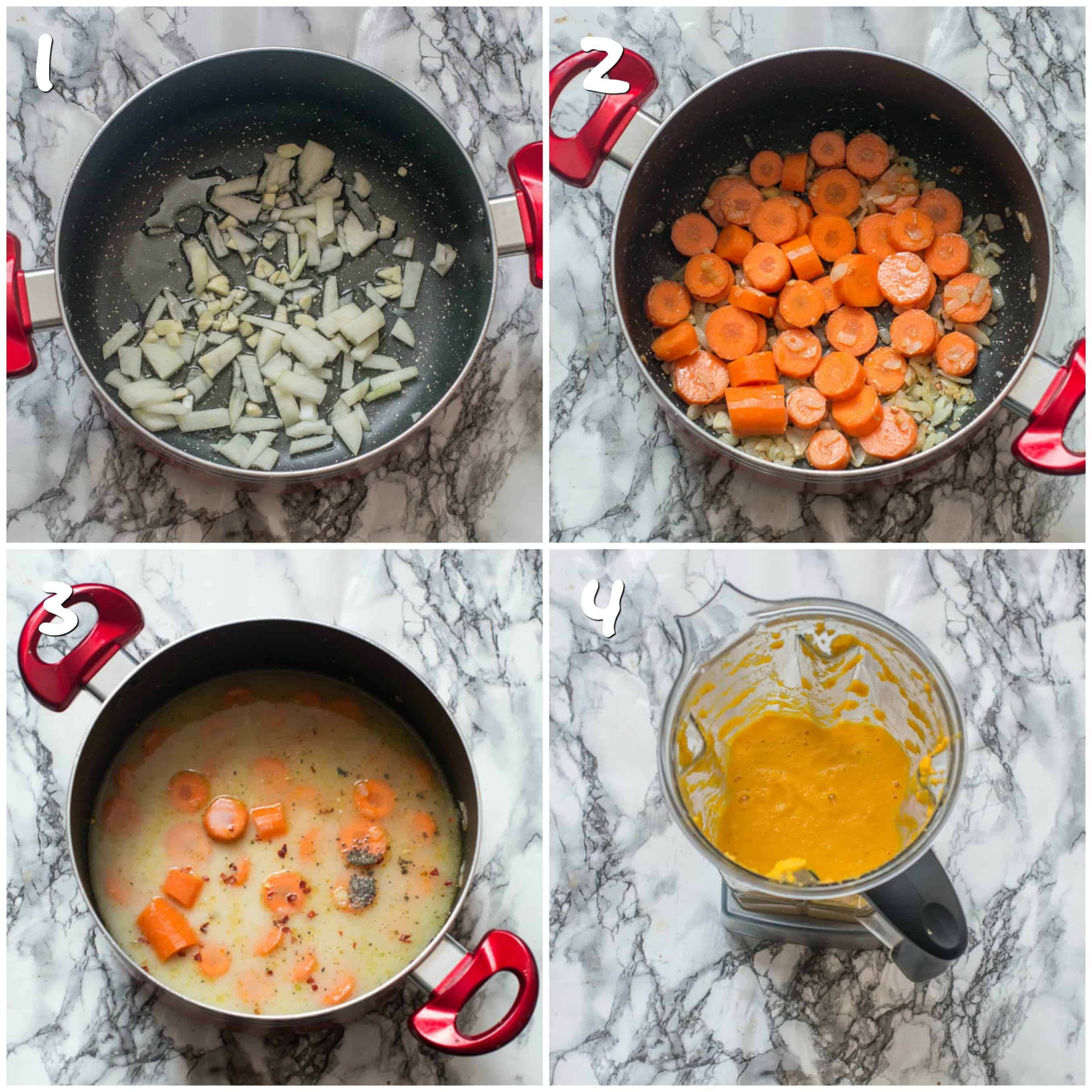 Steps 1-4 sauteing carrots, veg and pureeing soup