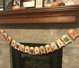 This thankful banner helps our kids think about something they are grateful for everyday.